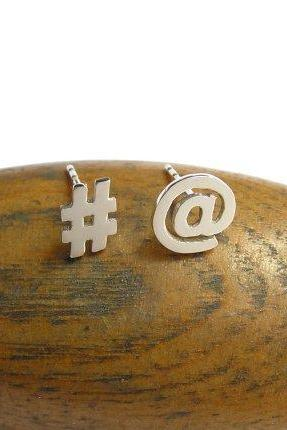 Twitter Stud Earrings - Sterling Silver Earrings - At Sign and Hash Sign Mismatched Studs