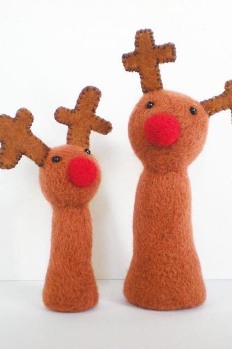 Large Plush Reindeer - Needle Felted Christmas Decoration