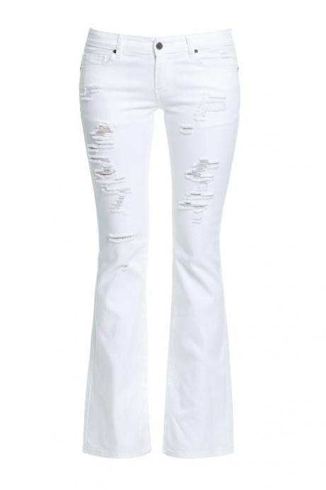 White High Waisted Denim Flared Jeans with Distressed Detailing