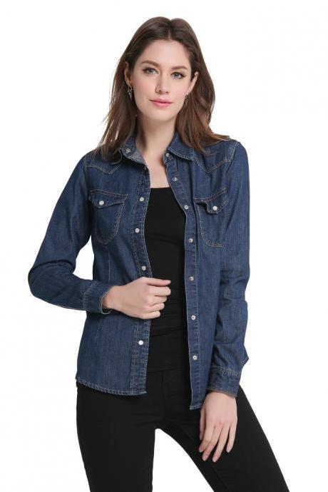 Ladies' Long Sleeve Denim Cotton Shirts