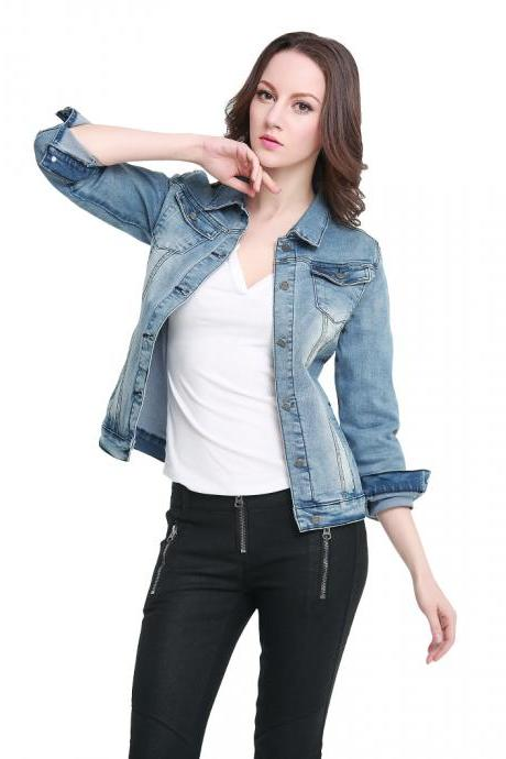 New Spring Jacket Ladies Denim Jacket Denim Rivets Button