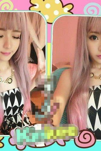 Harajuku style wig streaked female two color gradient color fluffy long straight hair wig