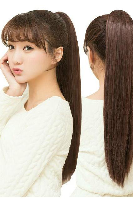 Cute Women Girls Synthetic Long Straight Ponytail Lovely Hair wig Wigs