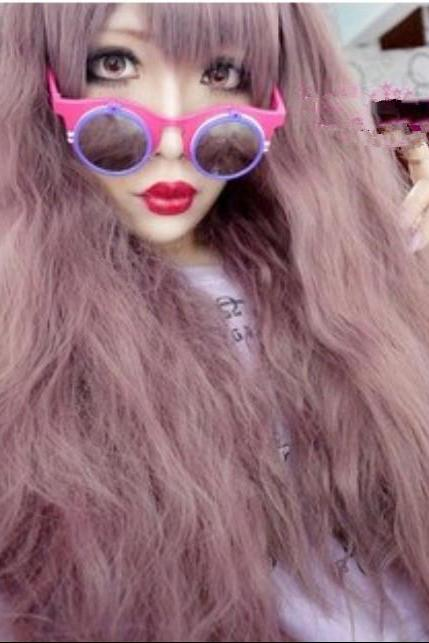 Hot fluffy Harajuku Japanese taro Purple Wig oblique bangs COSPLAY animation wigs