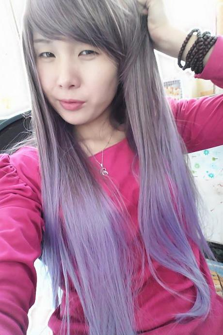 Harajuku stunning exclusive gradient purple wigs COS Prom night Party Long straight hair wig