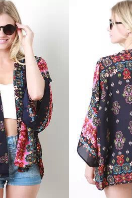 New Europe Women Blouses Fashion Retro Print Cardigan Kimono Ladies Half Sleeve Chiffon Shirt 15436