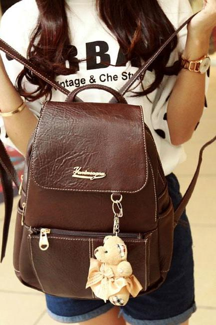 Retro Leisure College Brown Backpacks