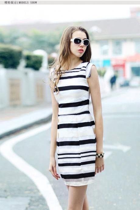 Summer New Women's Fashion Commuter Slim Stripe Sleeveless Organza Dress