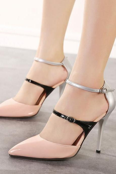Shiny Pointed-toe Duo Strap Stiletto Heels