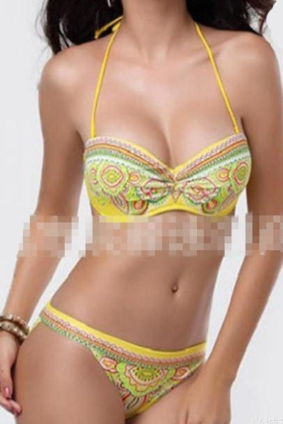 New Women Sexy Bikini Set Push Up Bandeau Swimwear Paisley Print Swimsuit