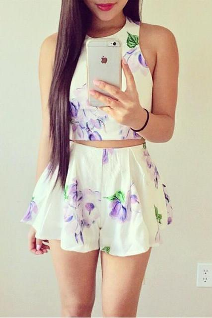 Floral Two Piece Outfit