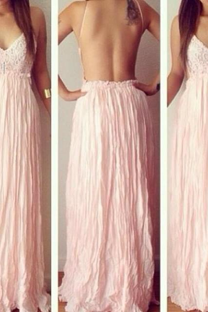 Pink Lace Dress Sexy Backless Long Dress