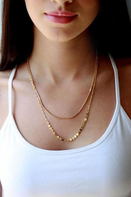 *Free Shipping* TX275 Gold Plated Double Layer Chain Necklace Jewelry