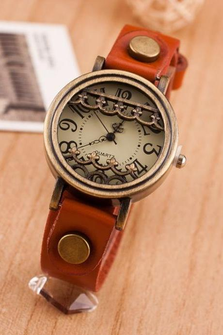 Vintage unique antique fashion orange woman watch