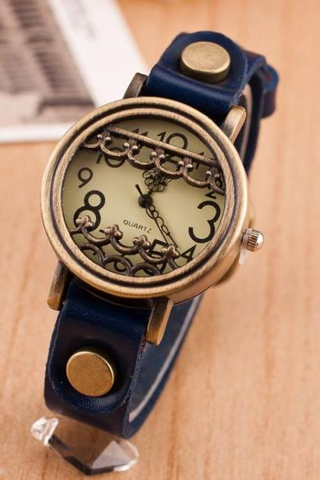 Vintage unique antique fashion blue woman watch