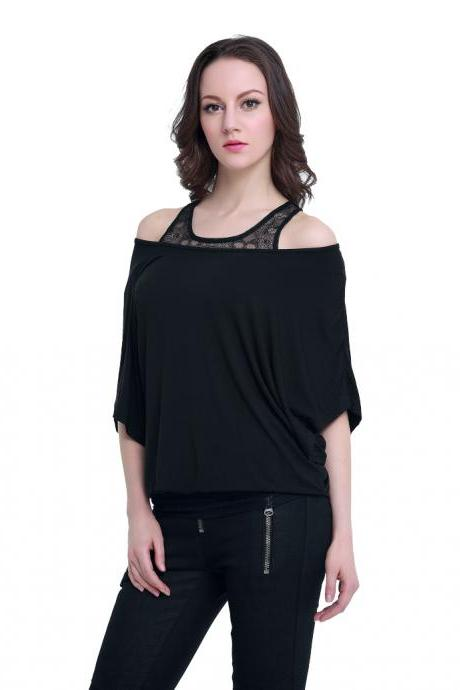 Skull lace 2-pieces loose batwing-sleeved blouse
