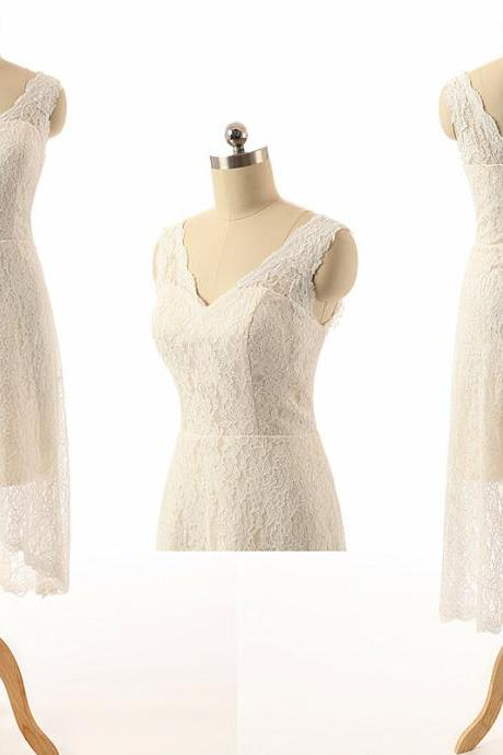 Short Wedding Dresses,Lace Wedding Dresses,2015 Wedding Dresses,Ivory Wedding Dresses, Mismatched Bridesmaid Dresses, Wedding Gowns