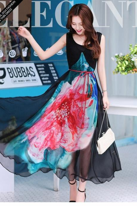Summer Beach women silk chiffon V neck long pleated sleeves casual Multicolor Floral printed Maxi Indian sun dresses
