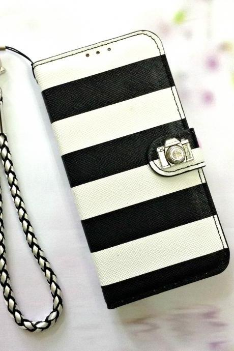 Stripe black leather phone wallet, Anchor iphone 6 6s 4.7 leather wallet case, Vintage iphone 6 6s plus leather wallet case, iphone SE, iphone 5c, 5, 5s leather wallet case, samsung galaxy S4, S5, S6, S6 Edge, S7, S7 Edge, Note 3, Note 4, Note 5, leather wallet case, item no.153