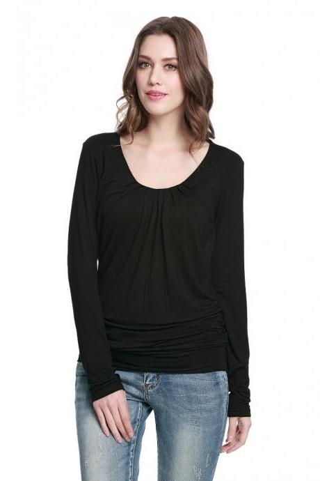 Pleated Lace Embroidered Long Sleeve T - Shirt