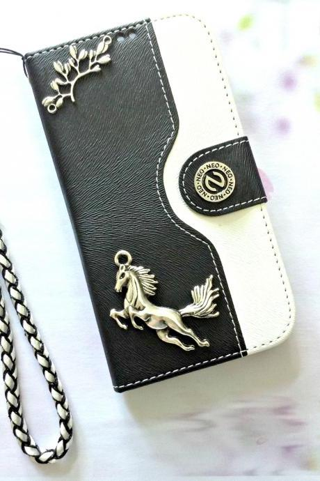 Horse iphone 6 6s 4.7 leather wallet case, Vintage iphone 6 6s plus leather wallet case, iphone SE, 5c, 5, 5s leather wallet case, samsung galaxy S4, S5, S6, S6 Edge, S7, S7 Edge, Note 3, Note 4, Note 5, leather wallet case, black white leather phone wallet, item no.62