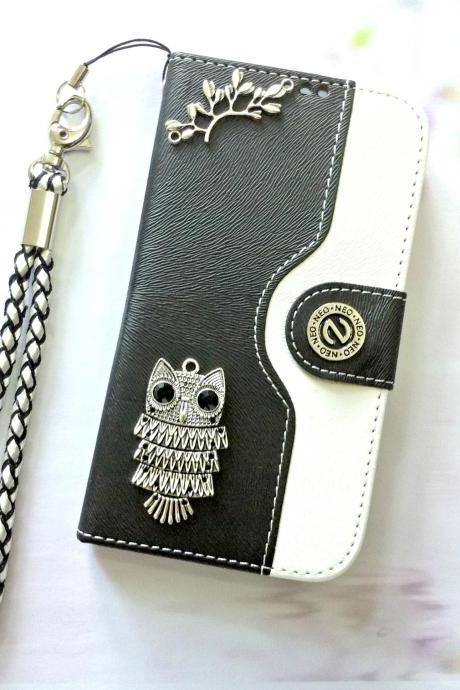 Owl iphone 6 6s 4.7 leather wallet case, Vintage iphone 6 6s plus leather wallet case, iphone SE, iphone 5c, 5, 5s leather wallet case, samsung galaxy S4, S5, S6, S6 Edge, S7, S7 Edge, Note 3, Note 4, Note 5, leather wallet case, black white leather phone wallet, item no.78