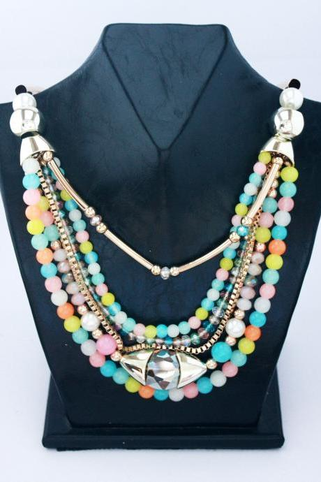 Colorful beads handmade vintage woman necklace