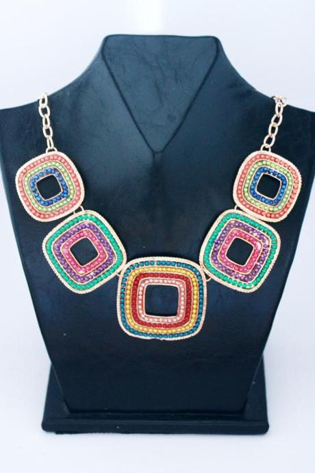 Handmade Colourful Rhinestone Embedded Square Statement Necklace