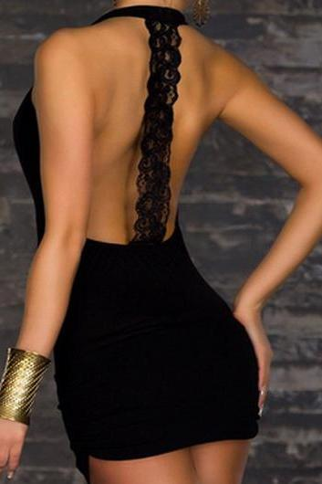 Sexy Open Back Keyhole Front Sheath Dress - Black