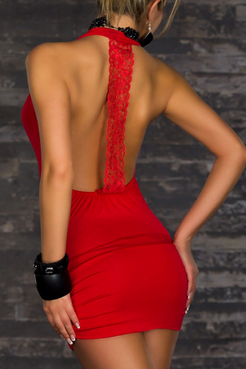 Sexy Open Back Keyhole Front Sheath Dress - Red