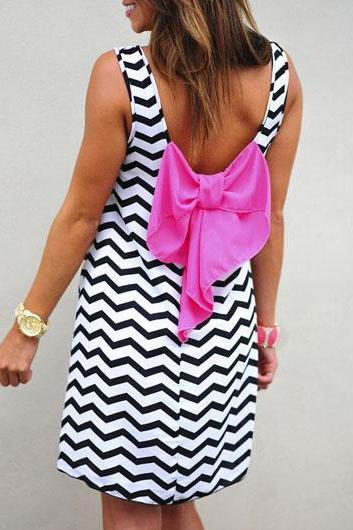 Cute Sleeveless Open Back Bowknot Striped Dress