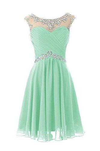Boat neck mint green chiffon knee length short beaded prom dresses