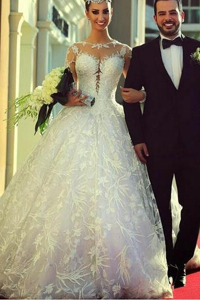 Sexy Wedding Dresses, White Wedding Dresses, Wedding Dresses, Sweep Train Wedding Dresses, Lace Wedding Dresses, Backless Wedding Dresses, Ball Gown Wedding Dresses, Applique Wedding Dresses