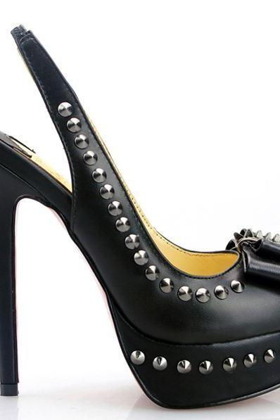 New Stylish Handmade Black High Heel Rivets Pumps