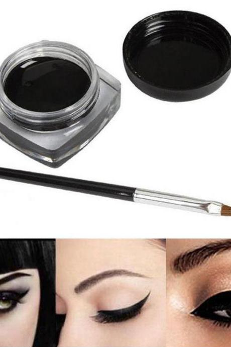 New Beauty Waterproof Black Eye Liner Gel Cream Makeup Cosmetic Eyeliner +Brush