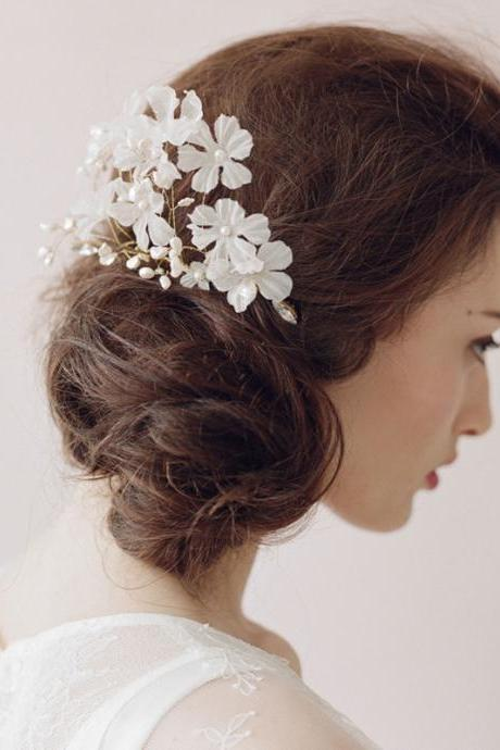 Wedding Bridal Crystal Pearl Lace White Flower Headband Hair Accessories Comb Tiara A14