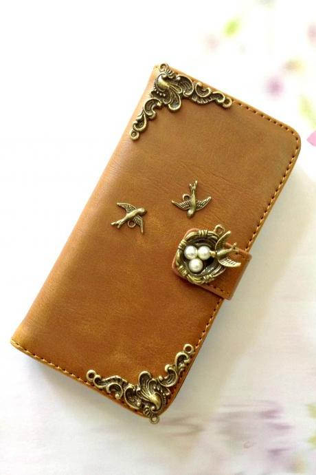 Bird Nest iphone 6 6s 4.7 leather wallet case, Vintage iphone 6 6s plus leather wallet case, iphone SE, 5c, 5, 5s leather wallet case, samsung galaxy S4, S5, S6, S6 Edge, S7, S7 Edge, Note 3, Note 4, Note 4 Edge, Note 5, leather wallet case, item no.207