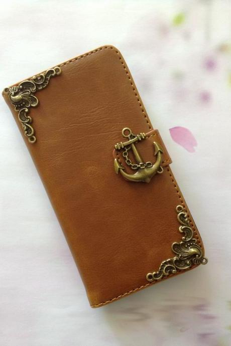 Anchor iphone 6 4.7 leather wallet case, Vintage iphone 6 plus leather wallet case, iphone 5c, 5, 5s leather wallet case, samsung galaxy S3, S4, S5, S6, S6 Edge, Note 3, Note 4, Note 4 Edge leather wallet case, item no.150