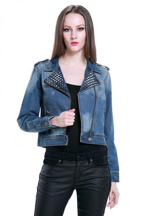New Spring Rivets Button Punk Style Denim Jacket