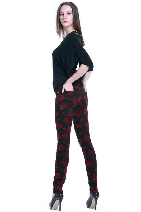 Rose Printed Elastic Casual Pants