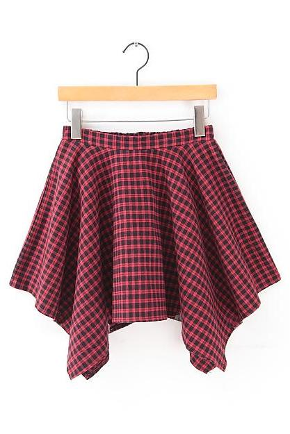 Irregular Block Plaid Umbrella Short Skirt Bust Skirt Vintage Preppy Style Skirt