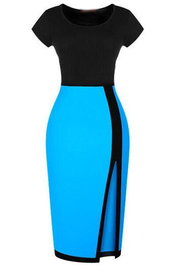 OL Style Side Slit Blue and Black Pencil Dress