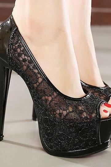 Lace High Heels Shoes