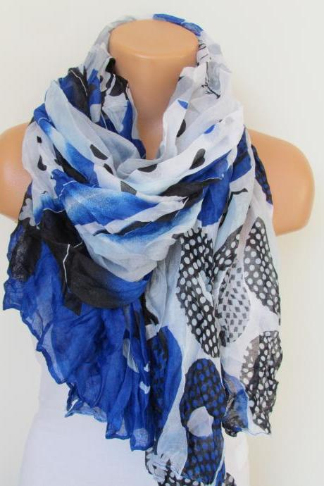 Navy Blue Black and White Floral Polka-dot Pattern Scarf Spring Summer Scarf Infinity Scarf Women's Fashion Accessories Trend Holidays Easter Gift Ideas For Her