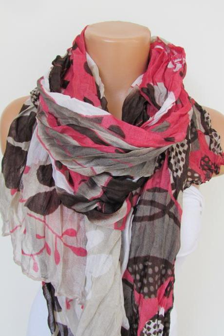 Pink Brown and Cream Floral Polka-dot Pattern Scarf Spring Summer Scarf Infinity Scarf Women's Fashion Accessories Trend Holidays Easter Gift Ideas For Her