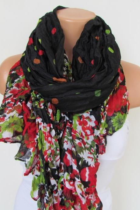 Black Red Green Floral Polka-dot Pattern Scarf Spring Summer Scarf Infinity Scarf Women's Fashion Accessories Trend Holidays Easter Gift Ideas For Her