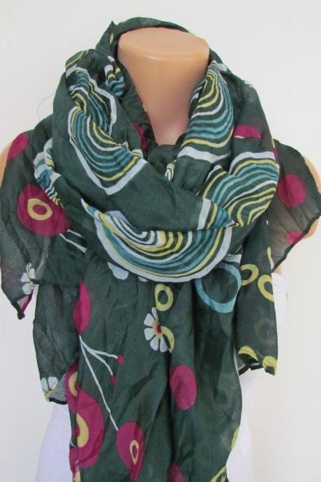 Teal Green Floral Polka-dot Pattern Scarf Spring Summer Scarf Infinity Scarf Women's Fashion Accessories Trend Holidays Easter Gift Ideas For Her