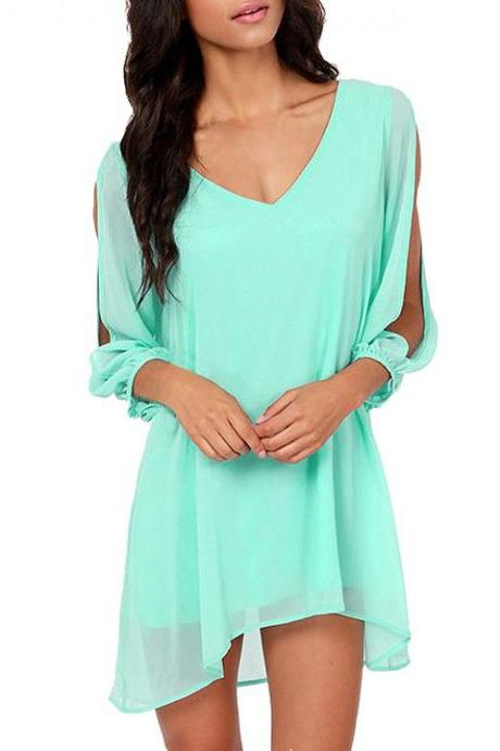 V-Neck Split Chiffon Loose Mini Dress