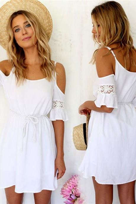 White Cold Shoulder Lace Mini Dress with Short Ruffle Sleeve