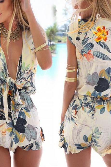 Newest!! Women Sexy Fashion Flouncing Romper Straps Print Overall Jumpsuit
